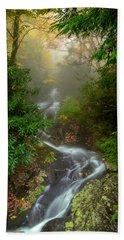 Foggy Autumn Cascades Beach Towel
