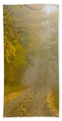 Foggy Autumn Morn Beach Sheet