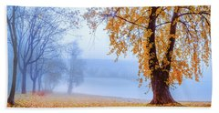 Foggy Autumn Morning On Vistula Beach Towel