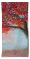 Foggy Autumn Beach Towel