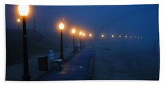 Foggy Boardwalk Blues Beach Towel