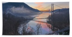 Foggy Dawn At Three Bridges Beach Towel