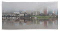 Foggy Day Along Portland Waterfront Panorama Beach Towel