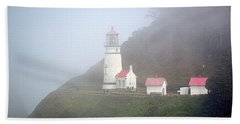 Beach Sheet featuring the photograph Foggy Day At The Heceta Head Lighthouse by AJ Schibig