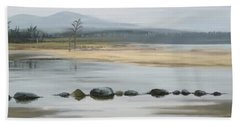 Beach Towel featuring the painting Foggy Day by Ivana