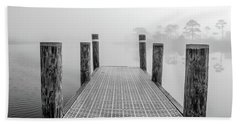 Beach Towel featuring the photograph Foggy Dock In Alabama  by John McGraw