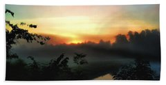 Foggy Edges Sunrise Beach Towel