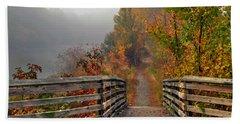Foggy Fall Trail Beach Towel