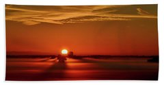 Foggy Farmlands Sunrise Beach Towel