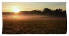 Foggy Field At Sunrise Beach Towel