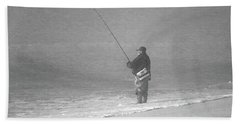 Foggy Fisherman In Bw Beach Sheet by Mary Haber
