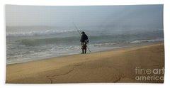 Foggy Fisherman Beach Sheet by Mary Haber