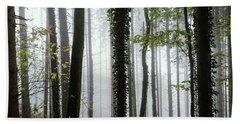 Foggy Forest Beach Towel by Chevy Fleet