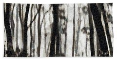 Foggy Forest Tree Paint Beach Towel