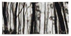 Foggy Forest Tree Paint Beach Towel