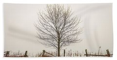 Foggy Lone Tree Hill Beach Towel