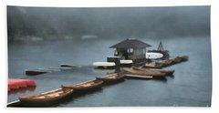 Foggy Morning At The Lake  Beach Sheet by Judy Palkimas