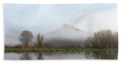Foggy Morning Bluff Beach Towel