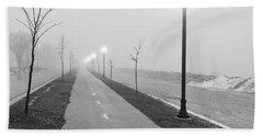 Foggy Morning Walk Beach Sheet