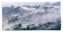 Foggy Mountain Of Sa Pa In Vietnam Beach Towel
