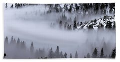 Foggy Mountain Pass Beach Towel