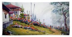Foggy Mountain Village Beach Towel