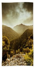Foggy Mountainous Forest Beach Towel
