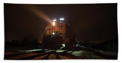 Beach Towel featuring the photograph Foggy Night Train  by Aaron J Groen