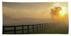 Foggy Pasture Sunrise Beach Towel