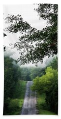Beach Towel featuring the photograph Foggy Road To Eternity  by Shelby Young
