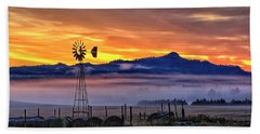 Foggy Spearfish Sunrise Beach Towel