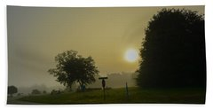 Foggy Sunrise Beach Towel