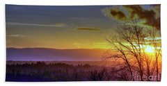 Foggy Sunset Beach Towel