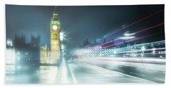 Foggy Westminster Bridge Beach Towel
