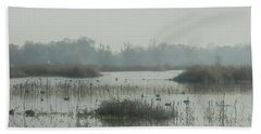 Foggy Wetlands Beach Towel