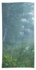 Foggy Wooded Meadow Beach Towel