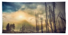 Beach Towel featuring the photograph Foggy Yellowstone Valley by Rikk Flohr