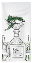 Beach Towel featuring the drawing Foliage Fountain by Mary Ellen Frazee