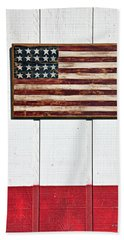 Folk Art American Flag On Wooden Wall Beach Towel
