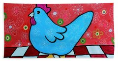 Folk Art Rooster Beach Towel
