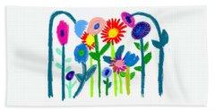 Beach Towel featuring the pastel Folk Garden by Bee-Bee Deigner