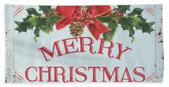 Folk Merry Christmas Beach Towel