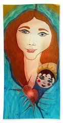 Folk Mother And Child Beach Towel