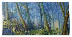 Follow Me Oil Painting Of A Magic Forest Beach Towel