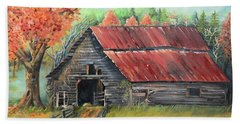 Beach Towel featuring the painting Follow The Lantern - Early Morning Barn- Anne's Barn by Jan Dappen