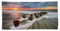 Folly Beach Charleston Sc South Carolina Sunrise Seascape Beach Towel