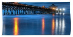 Folly Beach Pier At Blue Hour Charleston South Carolina Beach Towel