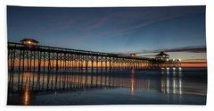Beach Towel featuring the photograph Folly Beach Pier Before Sunrise by Donnie Whitaker