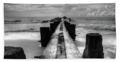 Folly Beach Pilings Charleston South Carolina In Black And White  Beach Towel