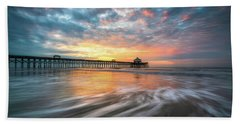 Folly Beach Sc Ocean Seascape Charleston South Carolina Scenic Landscape Beach Towel